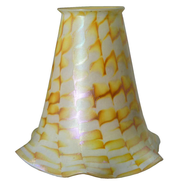 American Fostoria Art Glass Zipper Pattern Lamp Shade