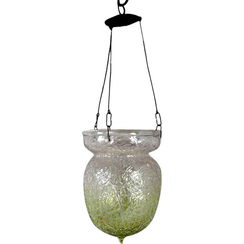Large Continental Art Glass Crackle Pattern Pendant Hall Light