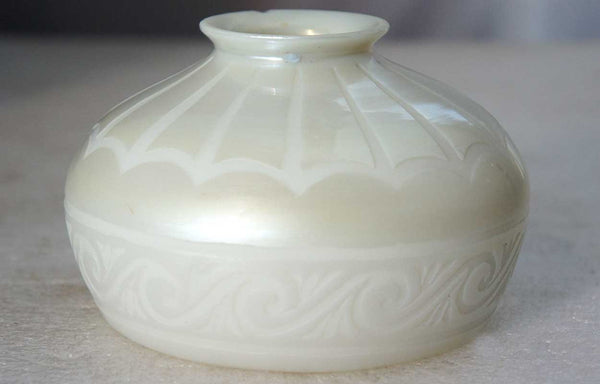 Small American Steuben Carder Period Engraved Calcite Art Glass Lamp Shade