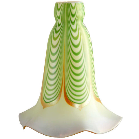 American Steuben Carder Period Glass Green Dragged Loop Lamp Shade