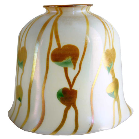Large American Fostoria Iris Decorated Art Glass Lamp Shade