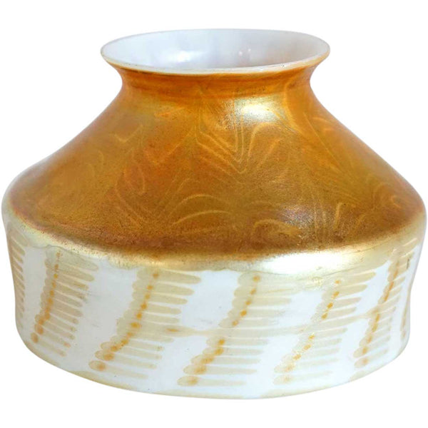 American Tiffany Studios Gold Zipper on Reactive Glass Candle Lamp Shade