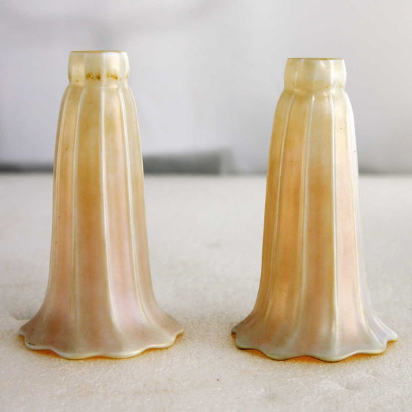Pair of American Quezal Art Nouveau White and Gold Lily Glass Lamp Shades