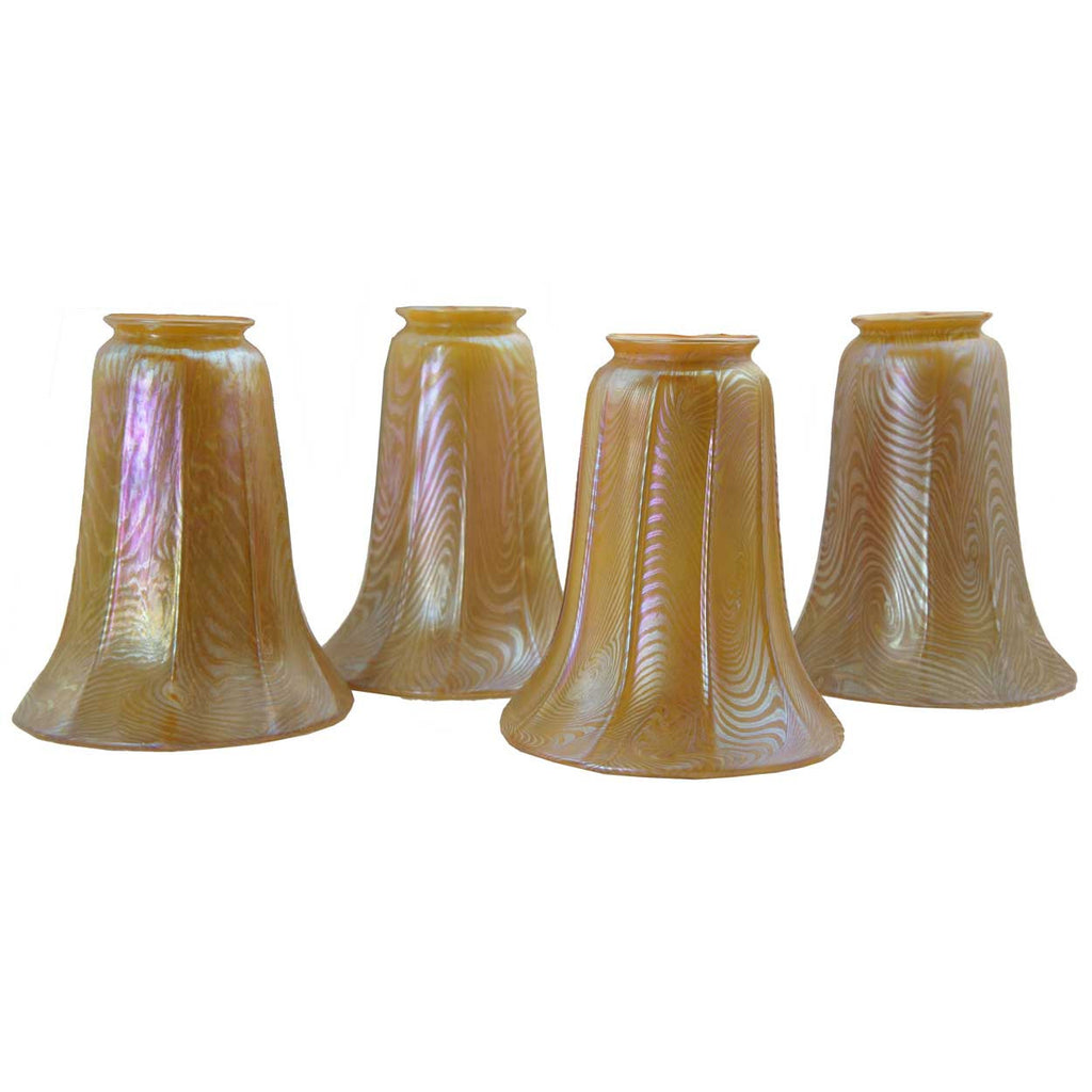Set Of Four American Durand Art Glass Gold King Tut Pattern Lamp Shades