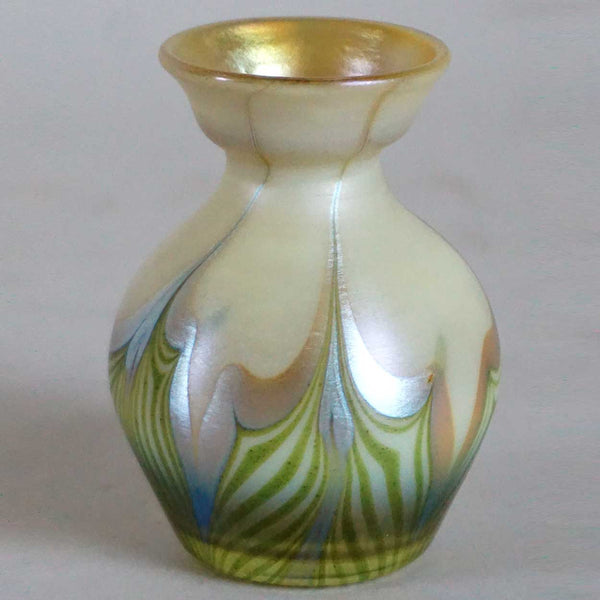 American Tiffany Studios Favrile Glass Green and Gold Cabinet Vase