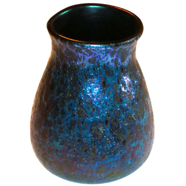 American Tiffany Studios Art Glass Blue Cypriot Vase