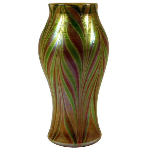 American Trevaise Art Nouveau Glass Iridescent Pulled Feather Cabinet Vase