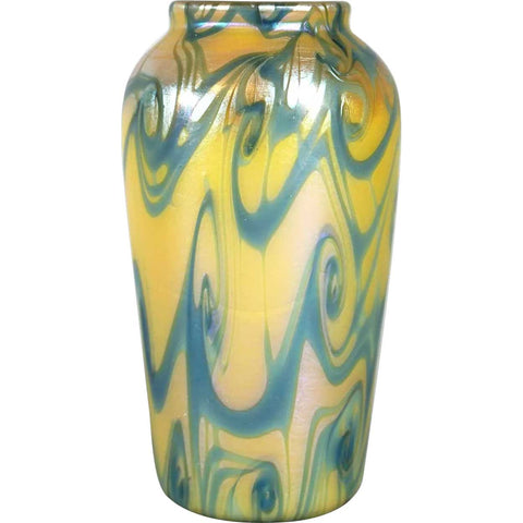 American Quezal Glass Yellow and Blue King Tut Cabinet Vase