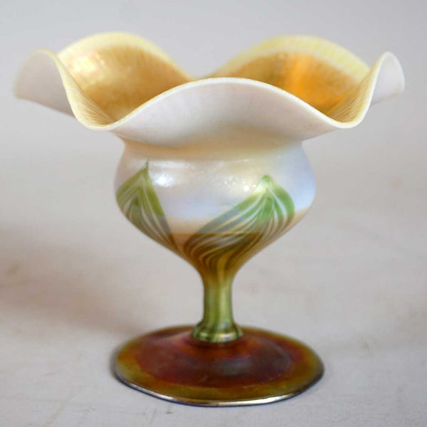 Small American Tiffany Studios Favrile Glass Floriform Pulled Green Compote