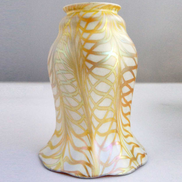 Set of Three American Quezal Art Glass Gold Fishnet Lamp Shades