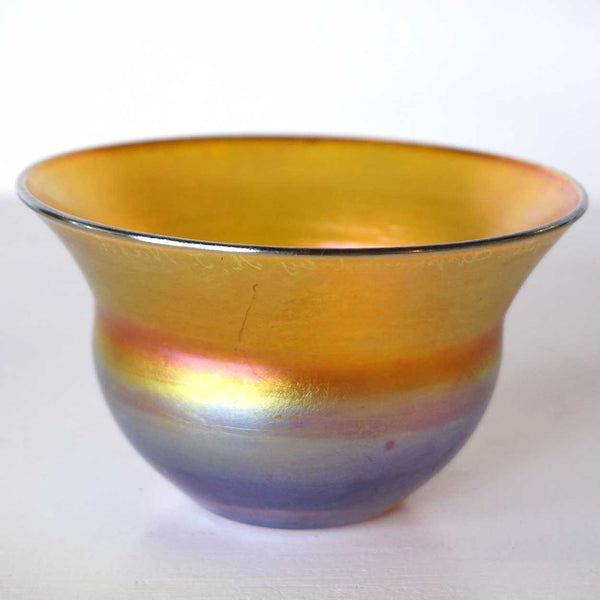 Rare American Tiffany Studios A.J. Nash Approved Sample Gold Iridescent Glass Bowl