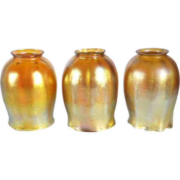 Set of Three American Tiffany Studios Art Nouveau Gold Favrile Tulip Lamps Shades