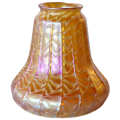 American Quezal Art Nouveau Gold Glass Lamp Shade