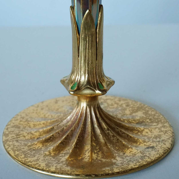 American Tiffany Studios and Furnaces Art Nouveau Favrile Glass Bronze Base Vase