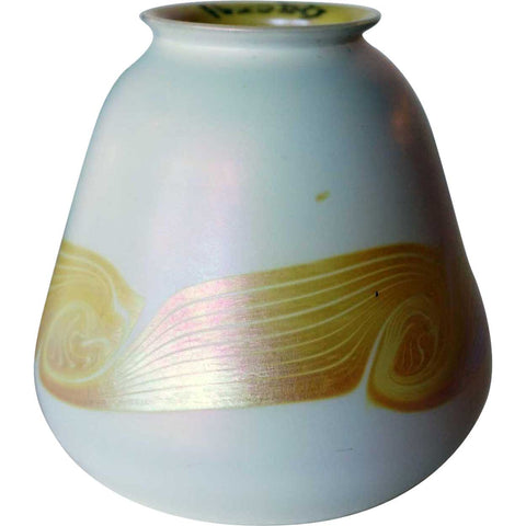 American Quezal Glass Gold Banded White Lamp Shade