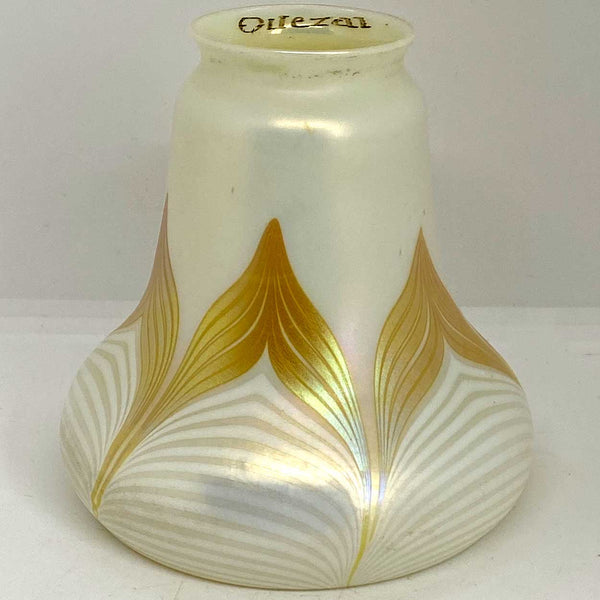 American Quezal Glass White and Gold Pulled Feather Bell-Shape Lamp Shade
