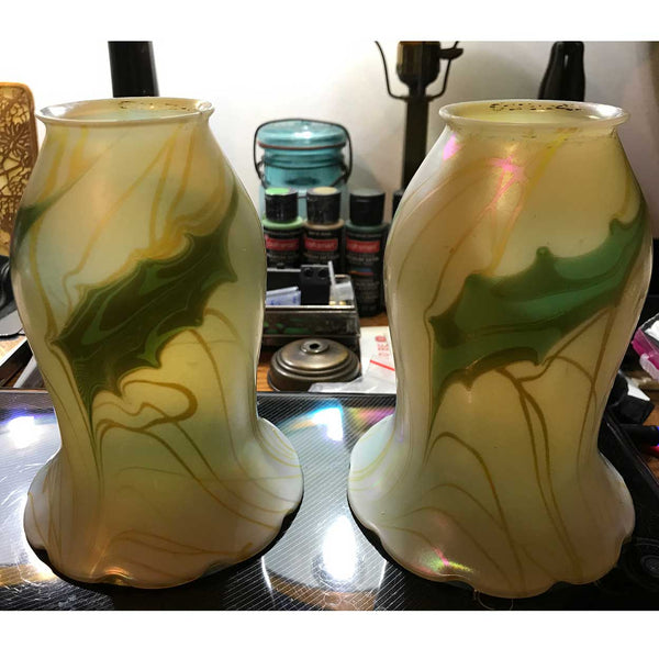 Pair of Rare American Quezal Glass Holly Leaf Lamp Shades