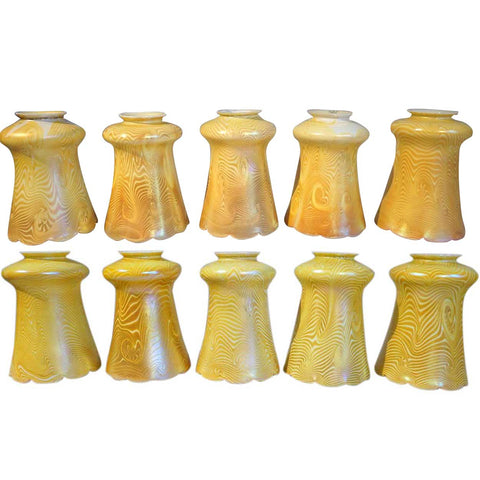 Set of 10 American Steuben Art Glass King Tut Lamp Shades