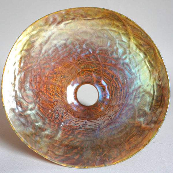 Large American Durand Moorish Crackle Iridescent Glass Lamp Shade