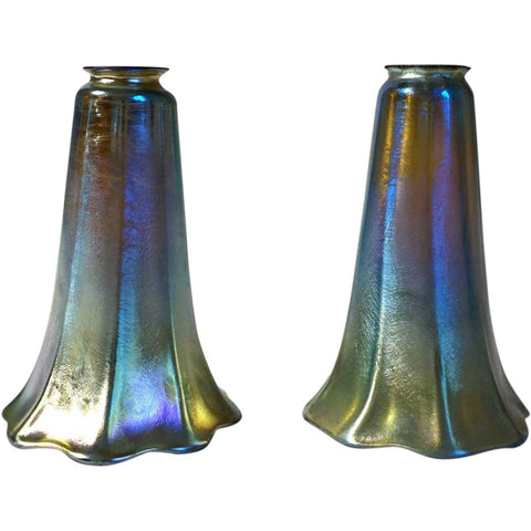Pair of Amercian Tiffany Studios Iridescent Gold Glass Lily Lamp Shades