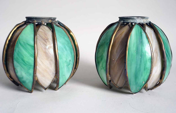 Pair American Handel Art Nouveau Brass and Curved Opalescent Stained Glass Pond Lily Shades