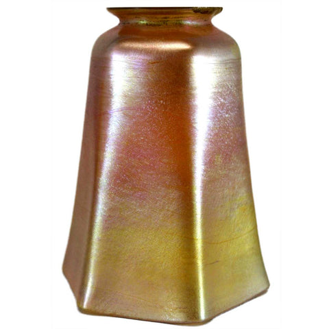 American Tiffany Studios Gold Favrile Glass Hexagonal Lamp Shade