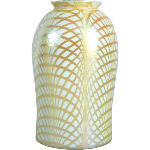 Large American Lustre Art Glass Gold Fishnet Pattern Lamp Shade