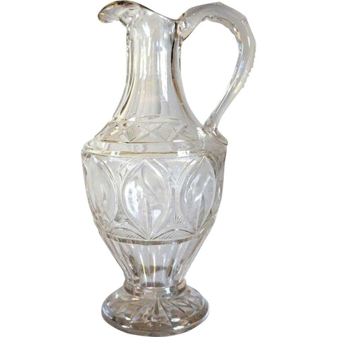 English / American Victorian Hand Blown and Cut Glass Carafe