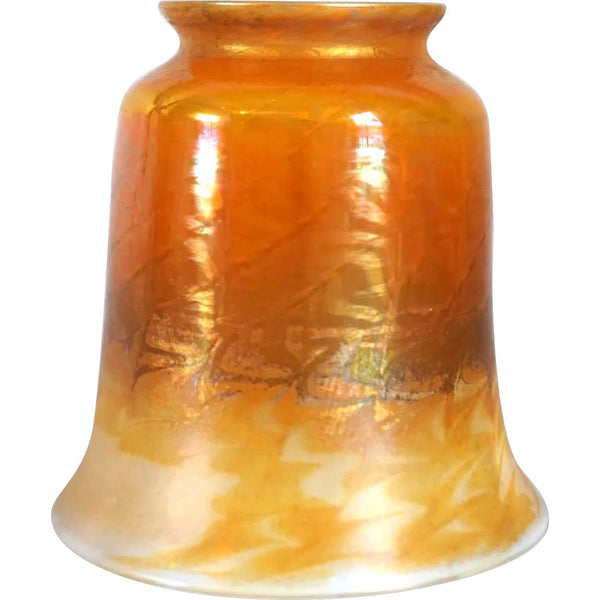 American Tiffany Studios Favrile Glass Gold Wave Pattern Candle Shade