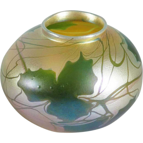 American Tiffany Studios Favrile Glass Gold Green Leaf and Vine Vase