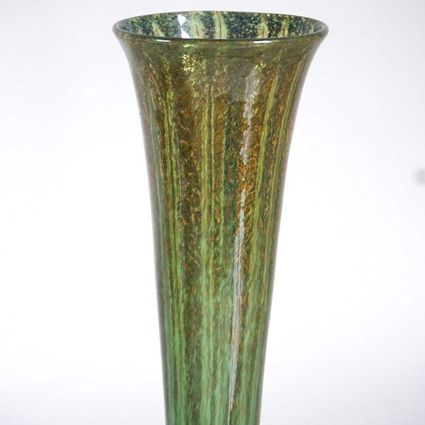 Large American Nash Iridescent Teal Chintz Decorated Glass Trumpet Vase