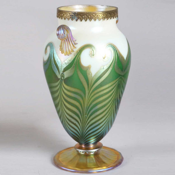American Art Nouveau Glass Pulled Hooked Feather Metal Mounted Vase