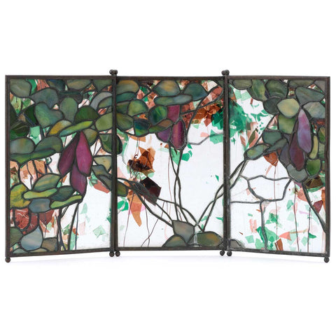 American Tiffany Studios Bronze and Leaded Favrile Glass Three-Panel Folding Tea Screen