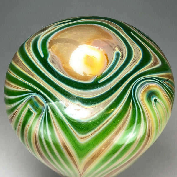 American Trevaise Art Nouveau Green and Gold Pulled Decoration Glass Bud Vase