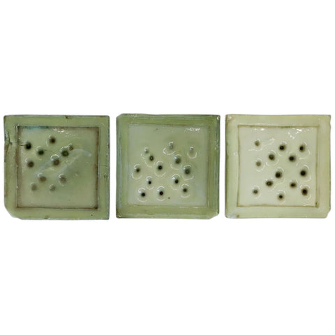 Set of Three American Tiffany Glass & Decorating Co. Green Glass Square Fireplace Tiles