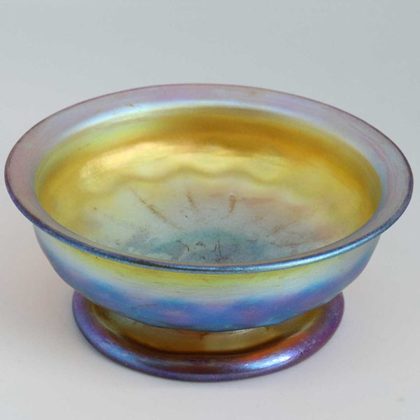 Small American Tiffany Studios Favrile Glass Iridescent Gold Footed Bowl