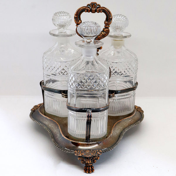 English Georgian Silverplate and Glass Three-Bottle Decanter Tantalus
