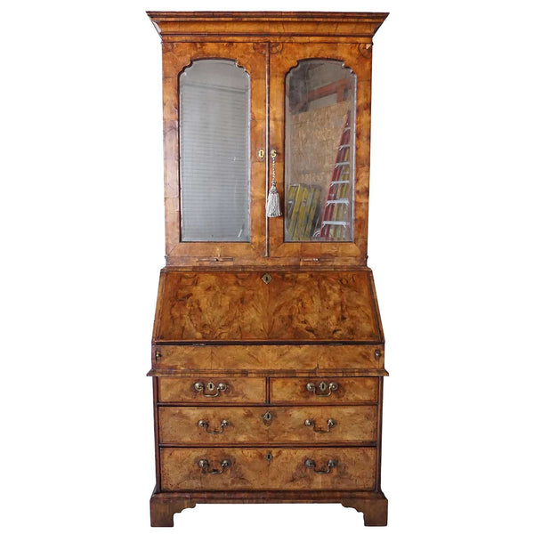 English George II Burl Walnut and Oak Bureau Bookcase Desk