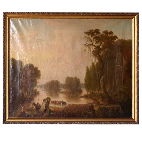 American Oil on Canvas Painting, River Logging Scene in the South