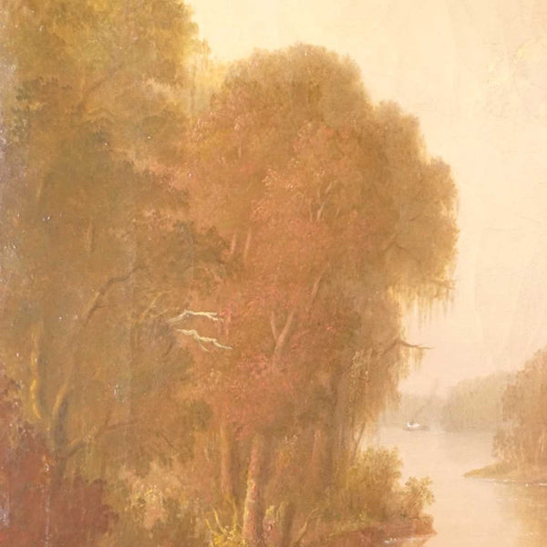 Southern American School Oil on Canvas Painting, Wood Gathering in the Bayou