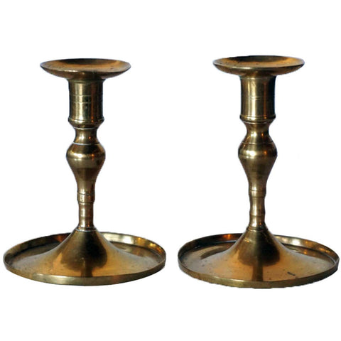 Pair of European Brass Taper Candlesticks