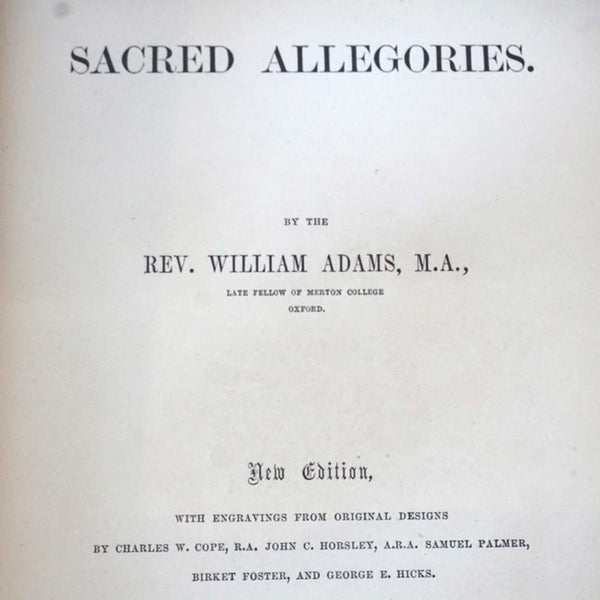 Victorian Leather Bound Book: Sacred Allegories by Reverend William Adams