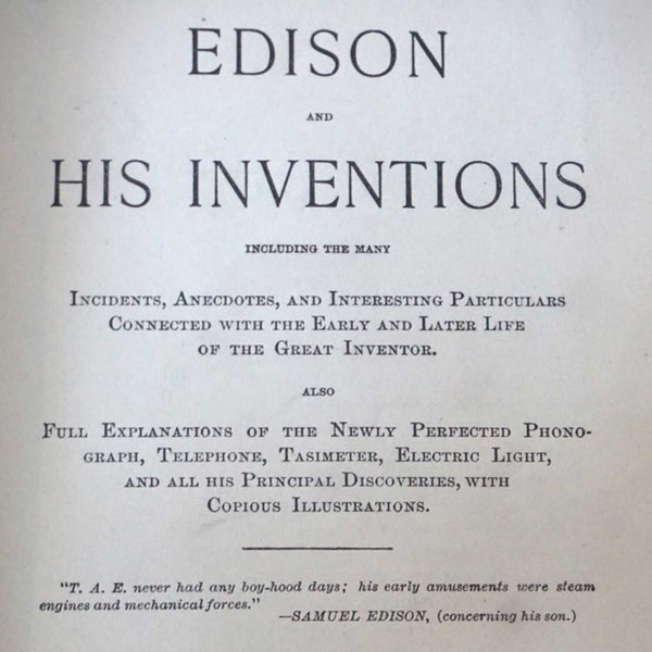 Book: Editor JAMES BAIRD MCCLURE, Edison and his Inventions