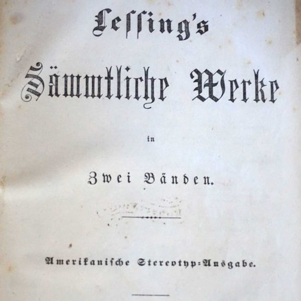 Two Volume German Book Set: Lessing's Sammtliche Werke
