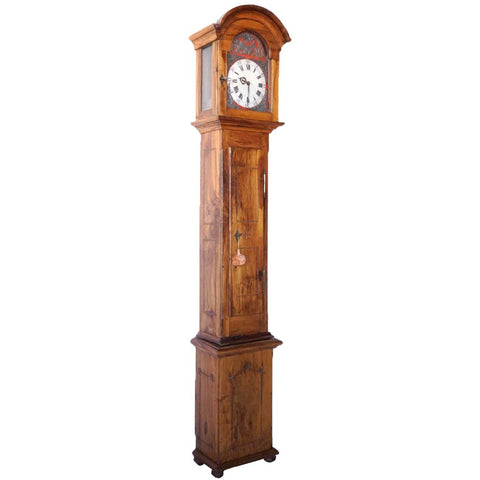 German Pearwood and Oak Grandfather Clock