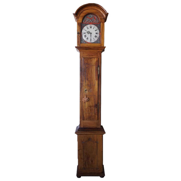 French Provincial Olive Wood and Oak Grandfather Clock