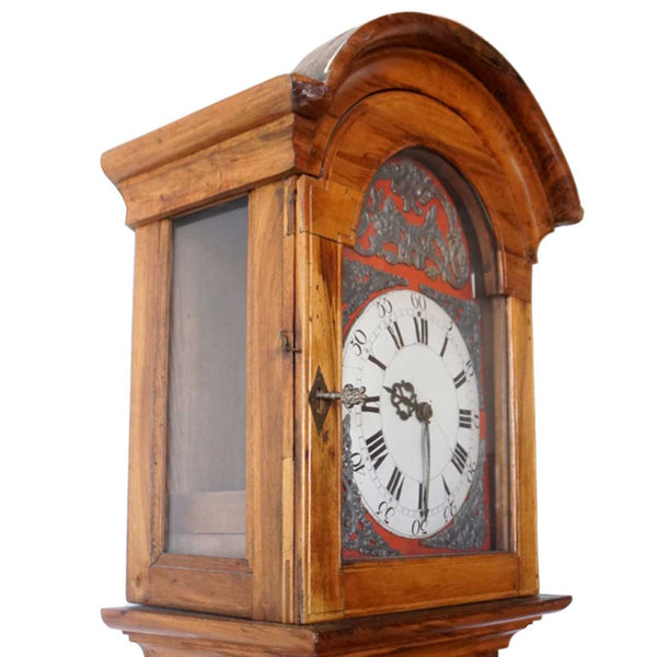 French Olive Wood and Oak Grandfather Clock