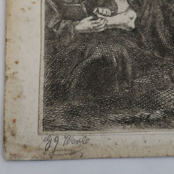 FERDINAND BOL Etching on Paper, Die Nagelschneiderin after Rembrandt