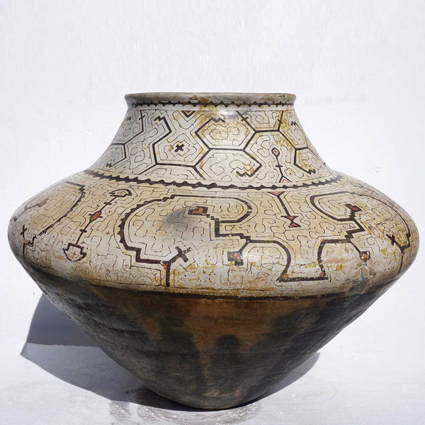 Very Large Peruvian Shipibo Polychrome Geometric Ceramic Pot (Chomo)