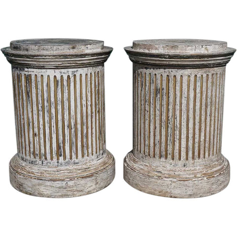 Pair of Vintage Painted and Gilt Pine Round Fluted Column Pedestals